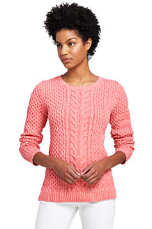 Women's Marled Cotton Cable Crew Neck Jumper