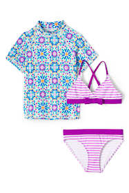 Girls Slim Sun Printed Rash Guard 3 Piece Swim Suit Set