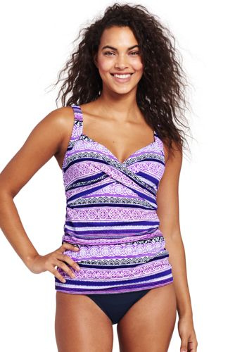Women's Beach Living Wrap Stripe Tankini Top