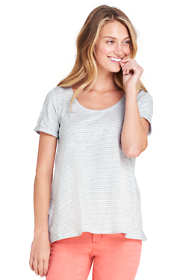 Women's Petite Stripe Short Sleeve Scoop Neck T-shirt