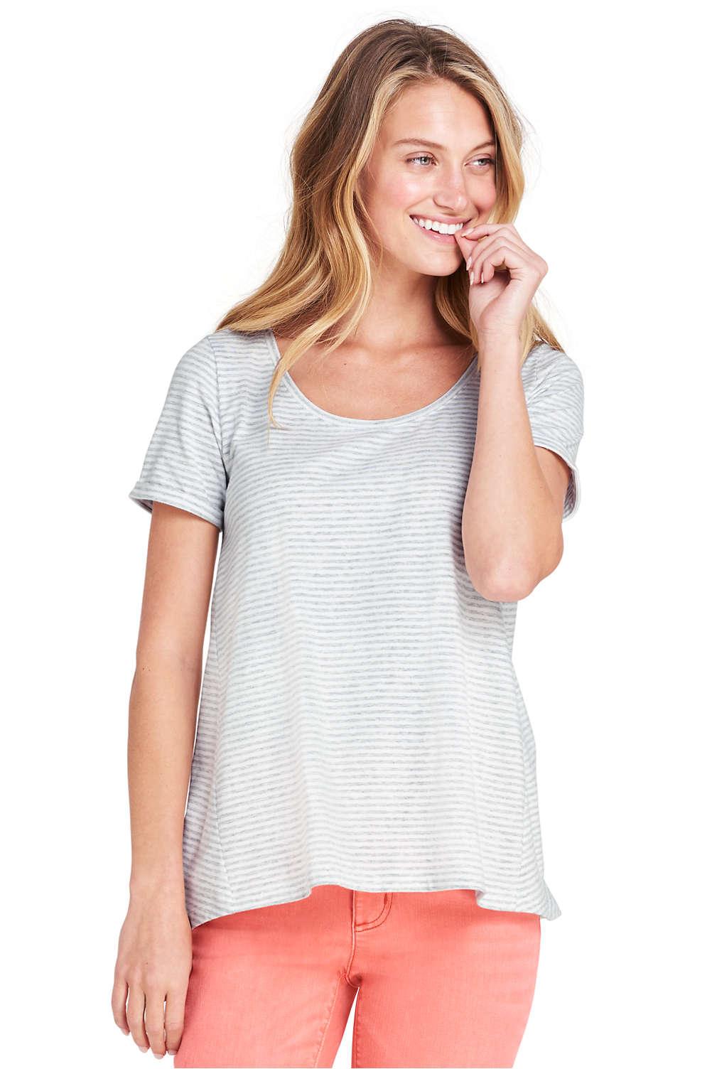 3b488952d0530 Women s Stripe Short Sleeve Scoop Neck T-shirt from Lands  End