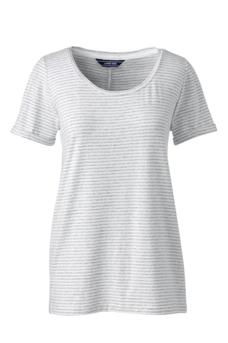 Women's Stripe Short Sleeve Scoop Neck T-shirt