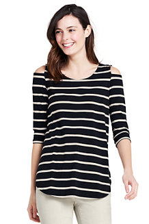 Women's Cotton/Modal Striped Cold Shoulder Top