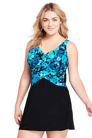 Women's Plus Size DDD-Cup Slender Underwire Sweetheart Swimdress with Tummy Control