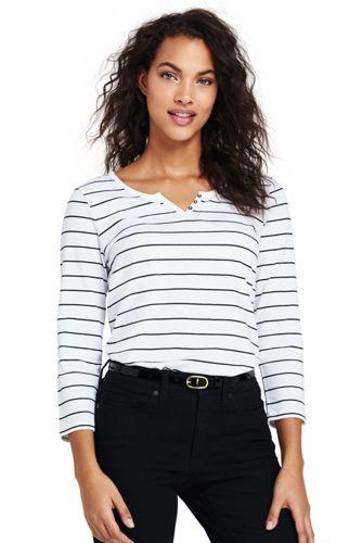 Women's Plus Lightweight Striped Henley Top
