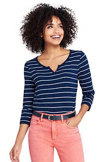Gestreiftes Shirt mit Henley-Ausschnitt für Damen
