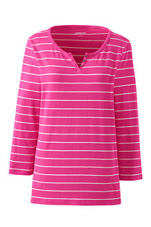 Women's Lightweight Striped Henley Top