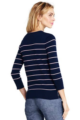 Lands' End - Supima Stripe/Floral Crew Neck Jumper - 2