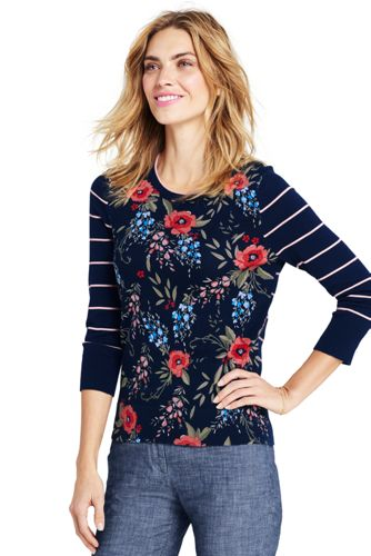 Women's Supima Stripe/Floral Crew Neck Jumper