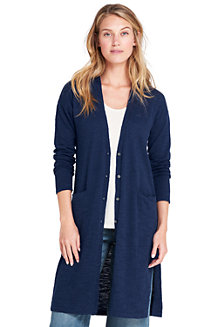 Women's Cotton Blend Slub Long Cardigan