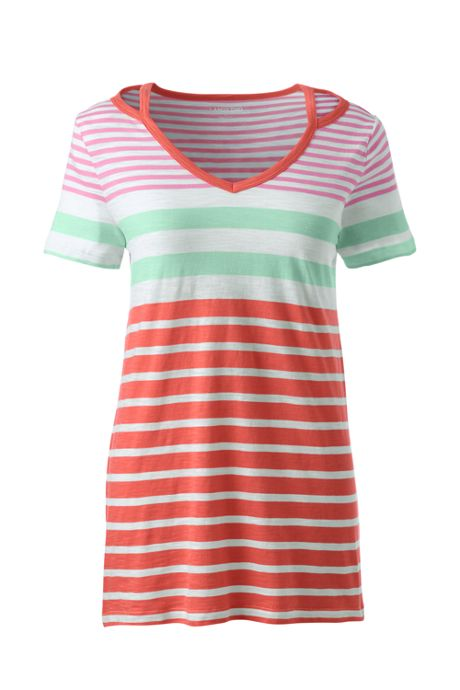 Women's Petite Stripe Short Sleeve Double Binding V-Neck T-Shirt