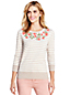 Women's Supima Striped Embroidered Crew Neck Jumper