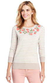 Women's Tall Supima 3/4 Sleeve Embroidered Sweater