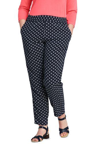 Le Pantalon Slim Fluide Imprimé Style Jogging, Femme Grande Taille