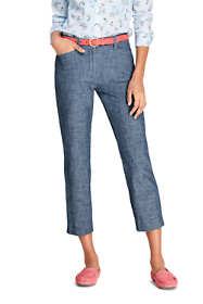 Women's Mid Rise Chambray Capri Pants