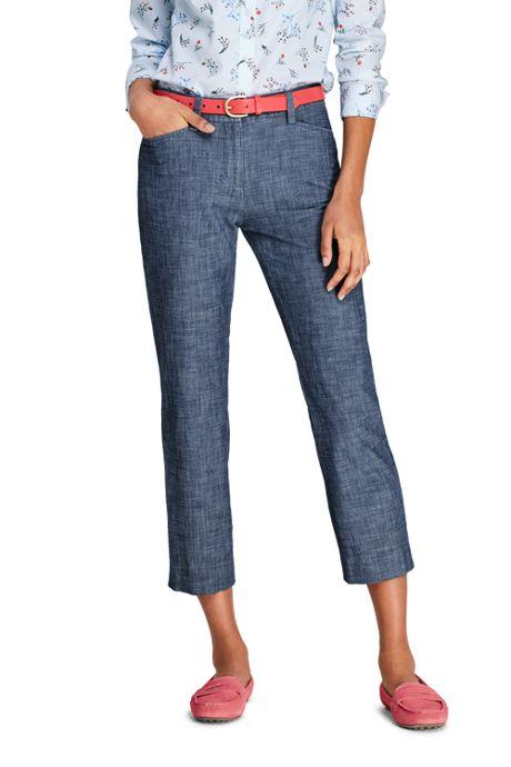 Women's Tall Mid Rise Chambray Capri Pants