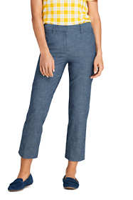 Women's Petite Chambray Mid Rise Crop Pants