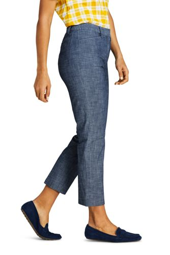 Women's Tall Chambray Mid Rise Crop Pants