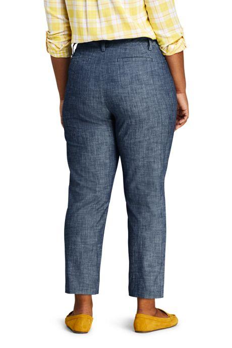 Women's Plus Size Chambray Mid Rise Crop Pants