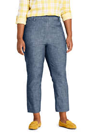 Women's Plus Size Chambray Mid Rise Crop Pants