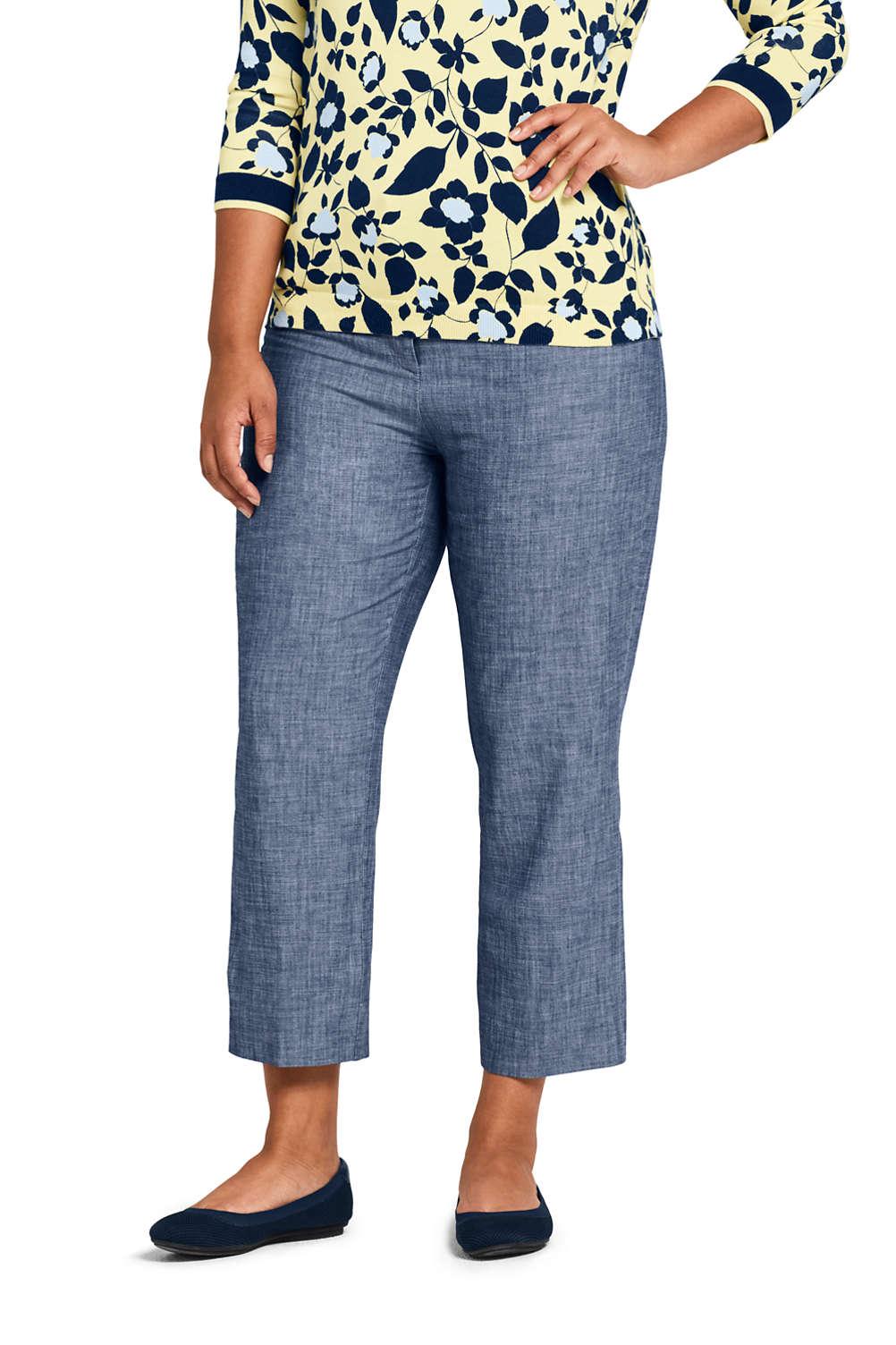 86c72c3c9f2 Women s Plus Size Mid Rise Chambray Capri Pants from Lands  End