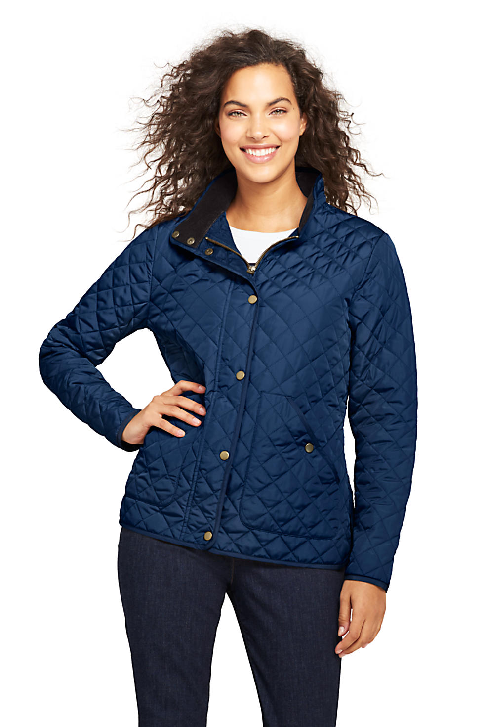Lands End Womens Quilted Barn Insulated Jacket (Deep Sea Navy)