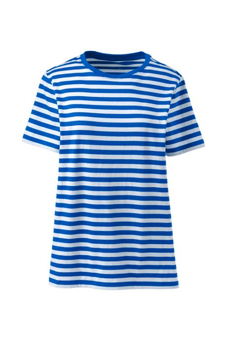 Women's Tall Stripe Relaxed Short Sleeve Supima Cotton Crewneck T-shirt
