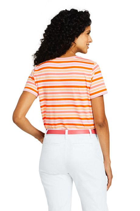 Women's Petite Relaxed Fit Supima Cotton Crewneck Short Sleeve T-shirt - Stripe