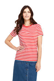 Women's Petite Stripe Relaxed Short Sleeve Supima Cotton Crewneck T-shirt