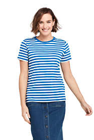 Women's Stripe Relaxed Short Sleeve Supima Cotton Crewneck T-shirt