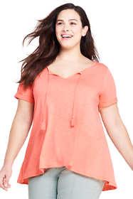 Women's Plus Size Tassle Short Sleeve V-Neck T-Shirt