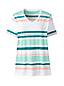 Le T-Shirt Rayé Col V en Coton Supima et Manches Courtes, Femme Stature Standard