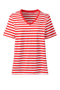 Women's Tall Relaxed Supima Cotton Short Sleeve V-Neck T-Shirt Stripe, Front