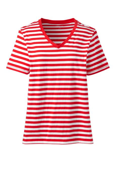 Women's Tall Relaxed Supima Cotton Short Sleeve V-Neck T-Shirt Stripe