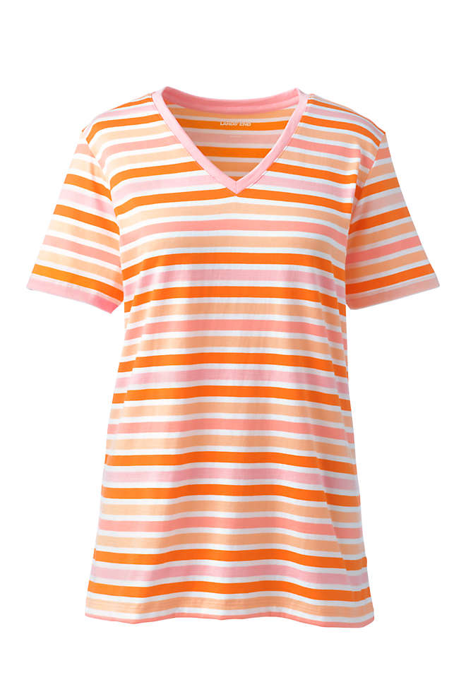 Women's Plus Size Petite Relaxed Supima Cotton Short Sleeve V-Neck T-Shirt Stripe, Front
