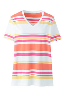 Women's Supima Cotton Striped V-neck T-shirt