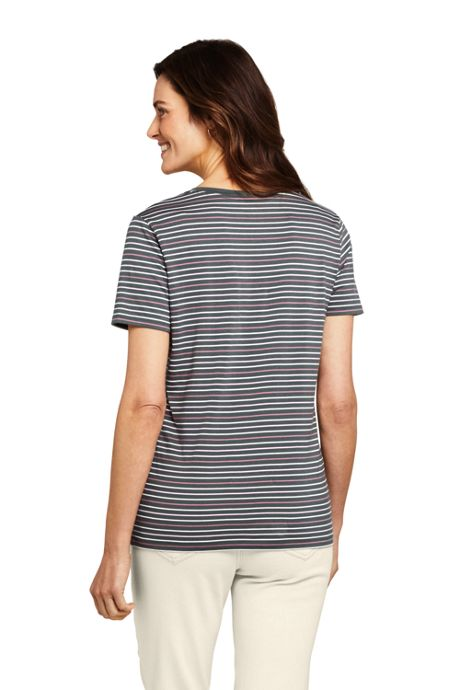 Women's Petite Relaxed Fit Supima Cotton V-neck Short Sleeve T-shirt - Stripe