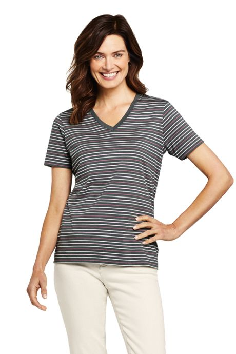 Women's Tall Relaxed Supima Cotton Short Sleeve V-Neck T-Shirt Stripe