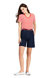 Women's Petite Relaxed Fit Supima Cotton V-neck Short Sleeve T-shirt - Stripe, Unknown