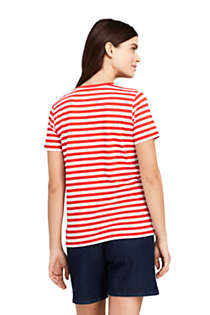 Women's Petite Relaxed Fit Supima Cotton V-neck Short Sleeve T-shirt - Stripe, Back