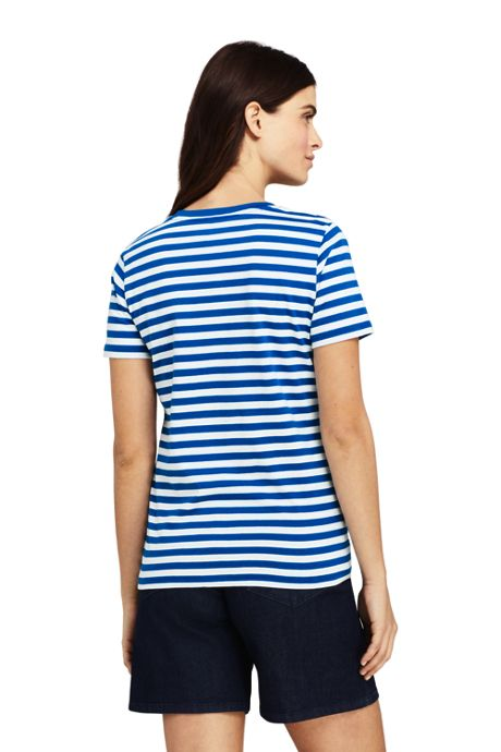 Women's Stripe Relaxed Short Sleeve Supima Cotton V-neck T-shirt