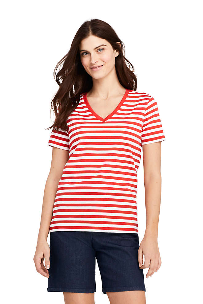 Women's Petite Relaxed Fit Supima Cotton V-neck Short Sleeve T-shirt - Stripe, Front