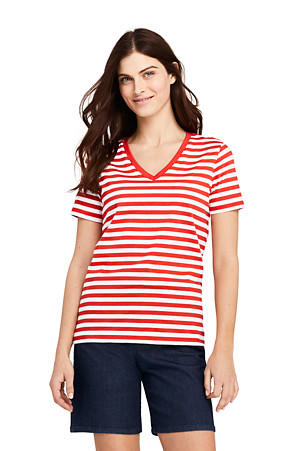 86be8d166f21 Women's Supima Cotton Striped V-neck T-shirt | Lands' End