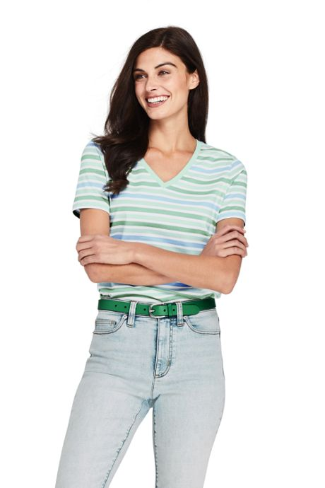 Women's Relaxed Fit Supima Cotton V-neck Short Sleeve T-shirt - Stripe