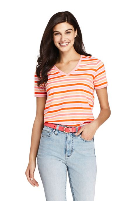 Women's Tall Stripe Relaxed Short Sleeve Supima Cotton V-neck T-shirt