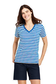 Women's Petite Stripe Relaxed Short Sleeve Supima Cotton V-neck T-shirt