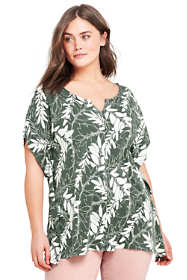 Women's Plus Size Relaxed Dolman Sleeve  Print Top