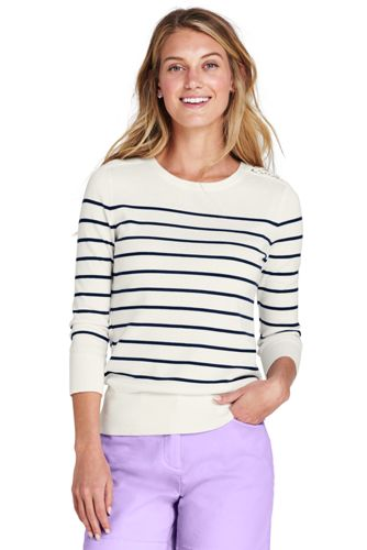 Women's Supima Crew Neck Jumper with lace-shoulder detail