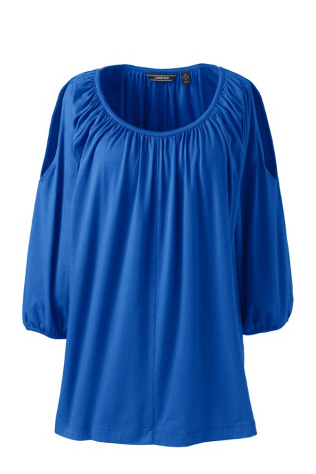 Women's Plus Size Cold Shoulder Shirred Tunic