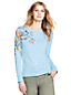 Women's Supima Fine Gauge Crew Neck Embroidered Cardigan